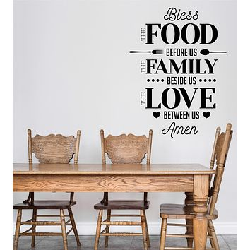 Wall Vinyl Decal Words Quote Bless Food Before Home Interior Decor Unique Gift z4776