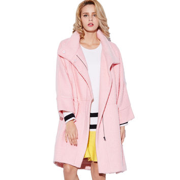 Pink Batwing Sleeve Coat