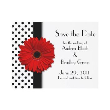 Black and White Polka Dot Save the Date Card Custom Invites from Zazzle.com