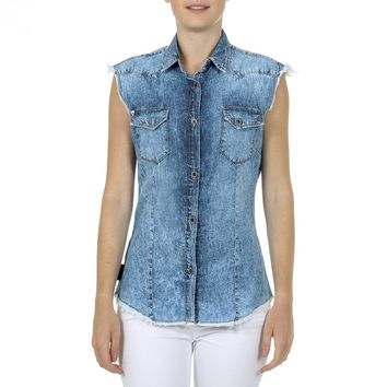 Andrew Charles Womens Shirt Sleeveless Denim CAMILIA