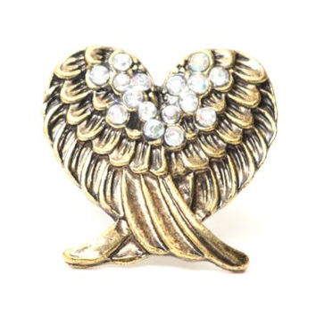 Angel Wings Heart Cocktail Ring Adjustable Gold Tone RB31 Antique Crystal Cherub Feathers Fashion Jewelry
