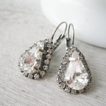 Crystal Halo Teardrop Earrings, Wedding Jewelry, Bridesmaid Earrings, Vintage Style, Antique Silver, Swarovski Elements