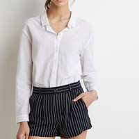 Pleated Pinstripe Shorts