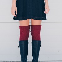 Burgundy Diamond Cable Knit Boot Socks