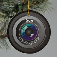Personalized Ceramic Number One Photographer Ornament
