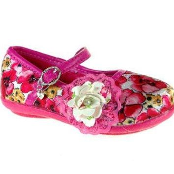 Girls 253 Floral Mary Jane Charm Flat Shoes