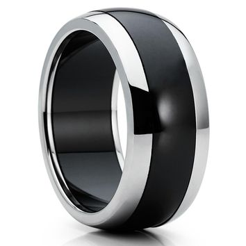 Ceramic Wedding Band - Black Ceramic Ring - 8mm - Men's Wedding Band