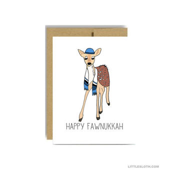 Happy Hanukkah pun card - funny hannukah chanuhak greeting card - fawnukkah deer fawn jewish holiday blue