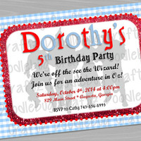 The Wizard of Oz Custom Printable Birthday Party Invitations - Personalized with 24hr turn-around. 5x7 or 4x6 - Dorothy - Ruby Slippers