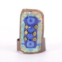 Copper handmade ring enameled jewelry fashionable designer's women's accessories