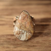 Natural Stone Ring - Native American Jewelry - Vintage ring - size 9.5 statement ring- neutral colored stone - large tan ring - bohochic