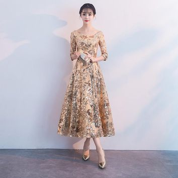 Gold Flower Sequins Formal Evening Midi Dress