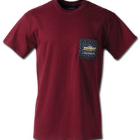 Chevrolet Plate Metal Maroon Pocket T-Shirt-Chevy Mall