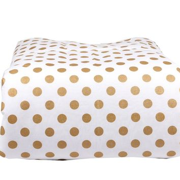 Toddler Blanket (Metallic Medium Gold Dots) - Minky Backing - Box Quilted - White Trim ...