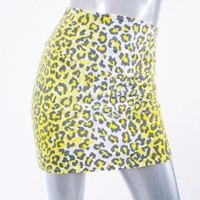 vintage 90s 80s neon yellow leopard print miniskirt skirt, 1990s 1980s rave cheetah spots fashion clothing, spring 2014 urban retro retrofit