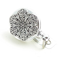Silver Filigree Badge Holder on Chrome Retractable Reel - Belt Clip