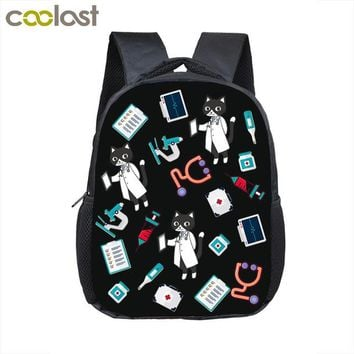 School Backpack trendy Cartoon Puppy Dog / Kitten Doctor Kindergarten Backpack Baby Small Bag Children School Bags Girls  Toddler Bags AT_54_4