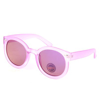 SUNGLASS MIRROR FINISH ROUND TRANSLUCENT FRAME FASHION WAYFARER POLYCARBONATE LENS UV 4OO 2 1/4 INCH WIDE LENS