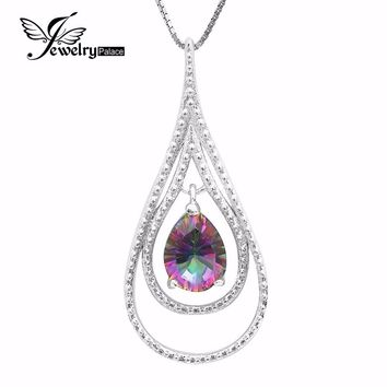 Natural Mystic Fire Rainbow Topaz Pendent Charm Genuine Solid 925 Sterling Silver Fashion Designer For Lover Women Mother 2016