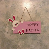 Large Hoppy Easter Hanging Easter Bunny Sign, Easter Home Decor, Wooden Easter Decoration, Happy Easter Bunny Sign, Easter Wall Decor