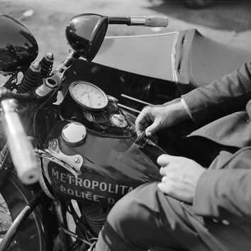 Police Motorcycle 1938 Reproduction Photograph 8x10 inch