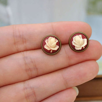 IVORY antiqued brass stud earrings with vintage maroon color resin cabs with cream color roses
