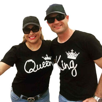 New Arrival King Queen T shirt Imperial Crown Printed Couple Clothes Lovers Tees Female Summer T-shirt 2017 Casual O-neck Tops