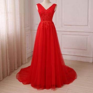 Red Prom Dresses Sexy V-neck Sleeveless Lace Applique Tulle Floor Length A-line Evening Party Formal Gowns
