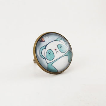 Kawaii Panda Ring Cute Bear Jewelry Blue And by cellsdividing