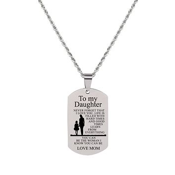 Sentiment Tag Necklace - TO DAUGHTER FROM MOM