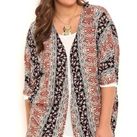 Plus Size Floral Boho Print Kimono with Elbow Length Sleeves