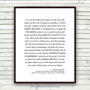 Man in the Arena Quote Print, graduation gift, Roosevelt, Teddy, inspirational