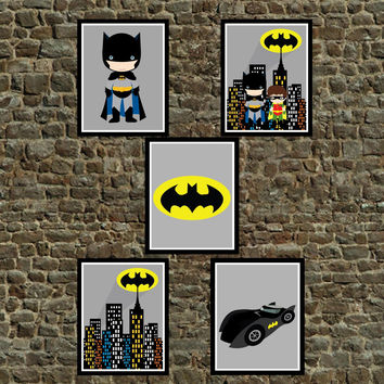 Set of 5 Super Hero Batman Wall Art Prints, Batman, Batmobile, Color Cityscape, Bat Symbol Batman & Robin