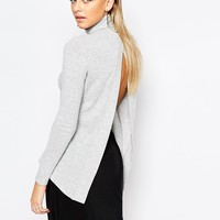 Boohoo Roll Neck Split Back Top at asos.com