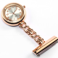 Luxury Nurse Pin Clip-on Fob Quartz Watch Brooch Hanging Fashion Crystal Men Women Full Steel Rose Gold Watch relogio Clock