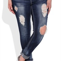 Plus Size Almost Famous Cuffed Skinny Jean with Heavy Destruction