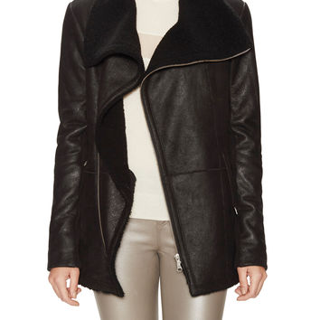 Veda Women's Saint Fleece Lined Leather Jacket - Black -