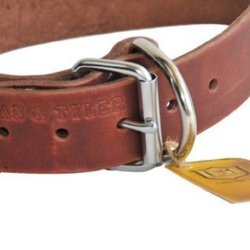 "Dean and Tyler ""B and B"", Basic Leather Dog Collar with Strong Nickel Hardware - Brown - Size 26-Inch by 1-1/2-Inch - Fits Neck 24-Inch to 28-Inch"