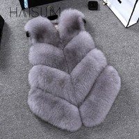 Haisum New 2018 Winter Women's Thick Warm Faux Fox Fur Vest High Quality Fashion V-Neck Fur Coat For Women Outwear HN89