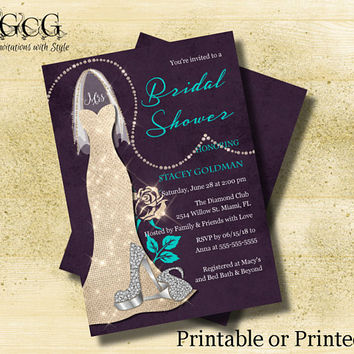 Purple Teal champagne Glitter Wedding Dress Invitation Bridal Shower Invitation Bridal Gown invitation Bridal Shower invite Rhinestone