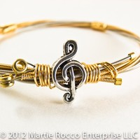 Guitar string bangle bronze steel brass wire wrap treble charm.GS12-80