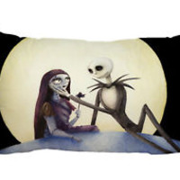 "Jack and Sally Nightmare Zippered Pillow Case 16""x 24"" - 2 sides Cushion Cover"