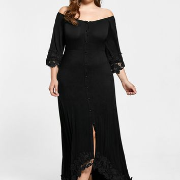 Gamiss Plus Size 5XL Off The Shoulder Lace Insert Maxi Dress Women 3/4 Length Sleeves Black Long High Slit Party Dress Vestidos