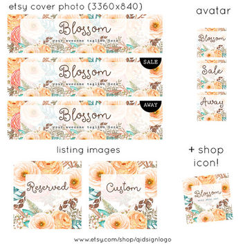 Etsy Shop Banner Set | Watercolor Floral | Shop Cover, Avatar, Listing Image, Shop Icon | Pastel Floral Bouquet