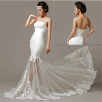 Sexy White Lace Strapless Summer Beach Wedding Bridal Dresses New 2013 SKU-117107