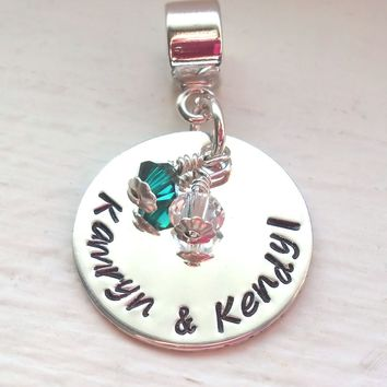 Personalized Charm Bead, Two Children's Names and Birthstones