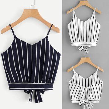 Women's Self Tie Back V Neck Striped Crop Cami Top Camisole Blouse