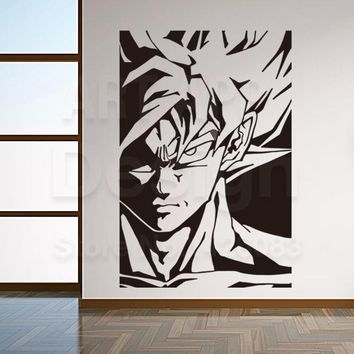Art new design home decor Super Saiyan vinyl wall sticker removable house decoration cheap cartoon Dragon balls decals in rooms