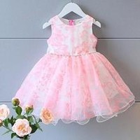 Toddler Girl Pink Princess Sleeveless Printed Tulle Party Dress