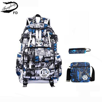 FengDong 3 pcs set kids school backpack Children School Bags for boys blue pen pencil case male shoulder bag for laptop notebook